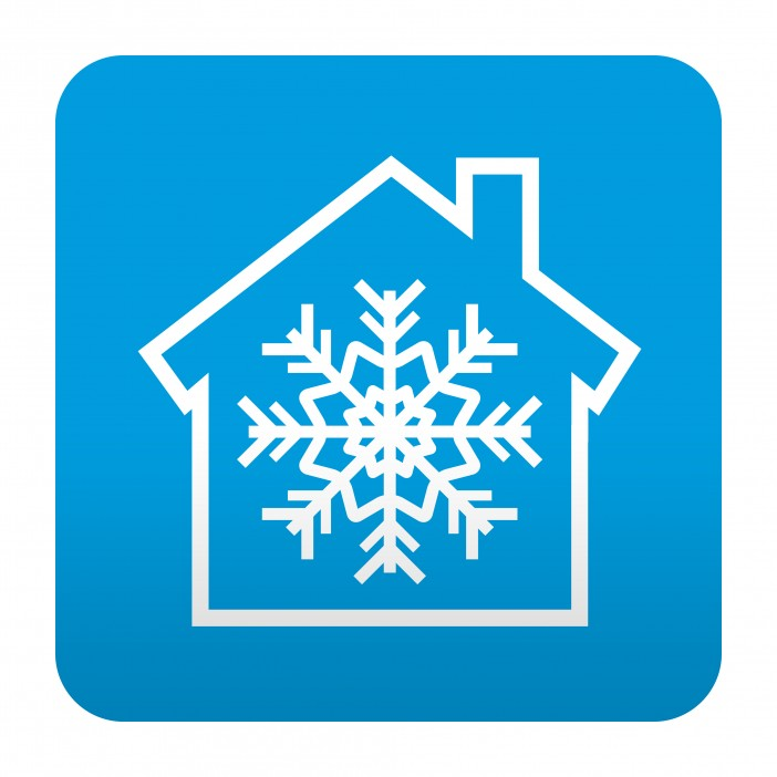Etiqueta tipo app azul simbolo aire acondicionado
